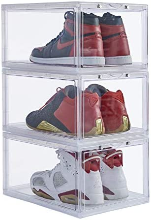 Stackable Shoe Organizer Clear Plastic 3 Pack Shoe Boxes for Display Shoes Sneakers Storage product image