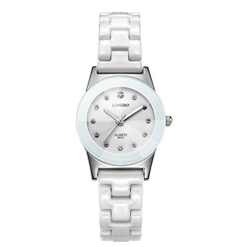 Longbo, orologio da polso analogico al quarzo, da donna, con cinturino in ceramica e strass, con cassa in giada bianca