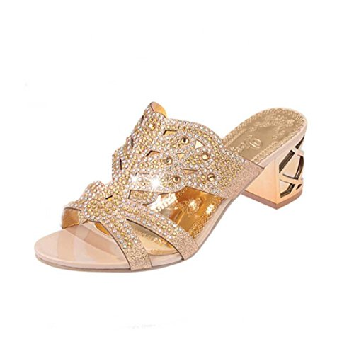 Chanclas Bohemia tacón Alto de Mujer, QinMM Verano Rhinestone Zapatos de Playa Sandalias baño