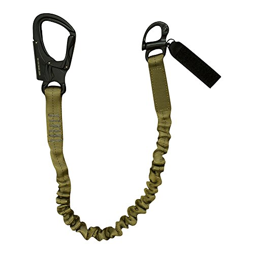 Fusion Tactical Elastic Sling Retention Helo Lanyard with Snap Hook Shackle 23KN, Coyote Brown, 2' 24' x 1'