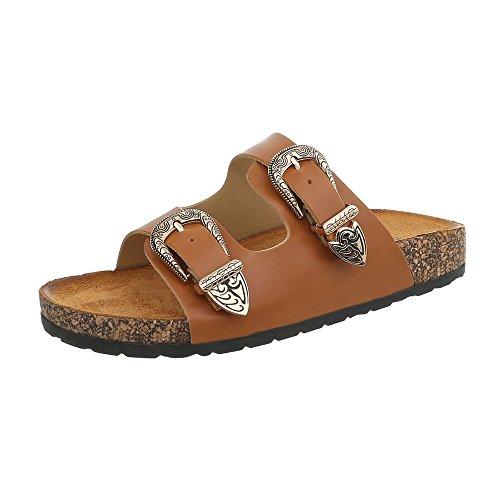 Ital-Design Pantoletten Damen-Schuhe Sandalen & Sandaletten Camel, Gr 37, 7018-Pl-