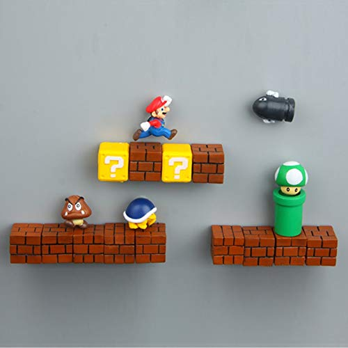 yqs Kühlschrankmagnet 1pcs Super Mario DIY Kühlschrank Kühlschrank Magnet TV FC Kindheit Spiel Japan Cartoon Gaming Cartoon 3D EIS Box Paster Kühlbox Aufkleber