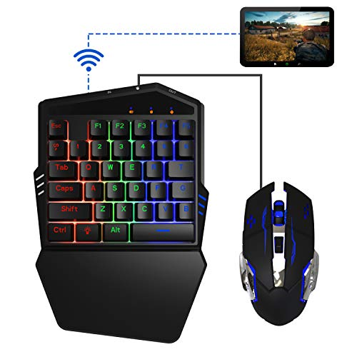 PUBG Mobile Game Tastatur und Maus, Delta essentials FO212 Bluetooth Wireless Call of Duty Mobile Handy Game Tastatur und Maus für iPhone/iPad/iOS/Android OS(Nicht kompatibel mit iOS 13.4 und höher)