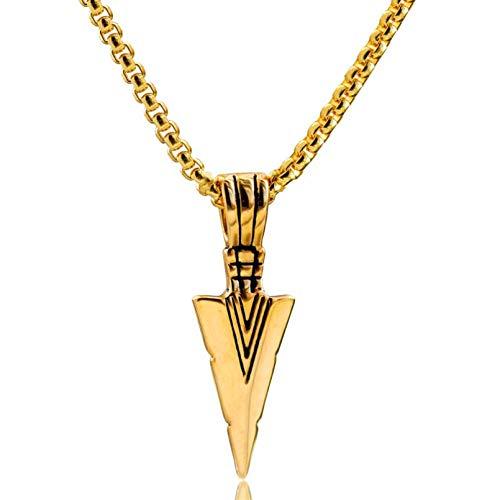 N/A Collar Colgante Collar con Colgante de Punta de Lanza de Acero Inoxidable para Hombre Llamativo para Hombres joyería de Punta de Flecha con Cadena de 24'Acción de Gracias
