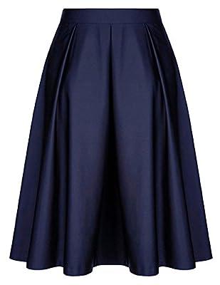 Belle Poque Women Skirt,Vintage Retro Knee Length A Line Skirt