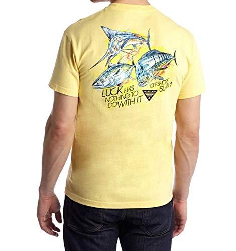 Columbia Camiseta de manga corta PFG By The Shore Marlin para hombre (Heather peque?a, iluminada por el sol - Offshore Charm)