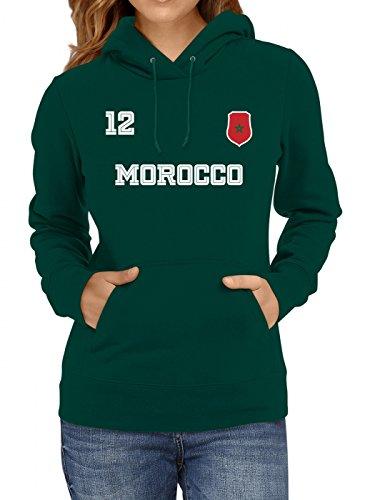 Shirt Happenz Marokko Weltmeisterschaft 2018#24 Premium Hoodie Fan Trikot Fußball Weltmeisterschaft Nationalmannschaft Frauen Kapuzenpullover, Farbe:Dunkelgrün;Größe:L
