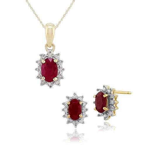 Gemondo 9ct Oro Giallo Rubino E Diamante Grappolo A Lobo Orecchini & 45cm Collana Set