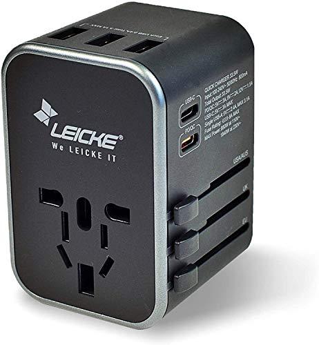 LEICKE Adattatore da viaggio universale Presa da viaggio internazionale Adattatore per presa CA, 6,5 A per 3 connessioni USB A e 2 di tipo C per oltre 224 paesi con spine USA/UE/Regno Unito/AUS