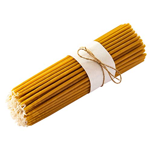 Meden 100% Pure Beeswax Church Candles - Height 22cm (Yellow) - Handmade, Dipper Tapered (100 Pcs - 460g)