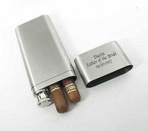 Set of 10 Bulk discount -Groomsmen gifts-Personalized Engraved Custom Stainless Steel Cigar Case, Tube & Flask Free engraving