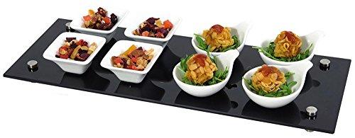 Set aperitivo e tapas 9 pezzi con vassoio in vetro nero ciotole finger food per buffet antipasti e aperitivi E19