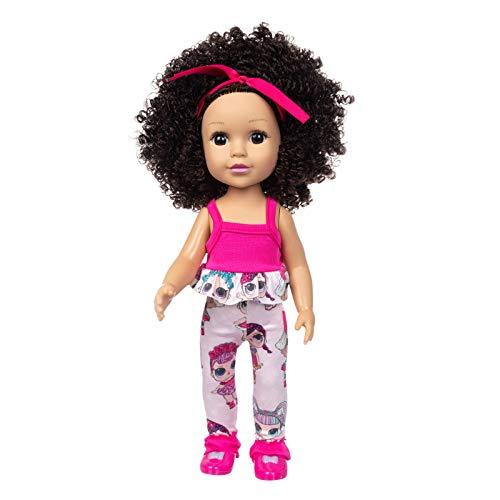 Muñeca de simulación para bebé, 35 cm, de Vinilo, Impermeable, Realista, Suave, Piel Negra, para niños, educación temprana,Lindo Cabello Rizado Regalos para niños muñeco Bebe
