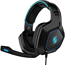 Sliq Gaming Scorpio Stereo Sound 50mm Gaming Headset/Headphone with Microphone/Mic for PC, PS4, Xbox One – in-line Audio Controls – LED – 3.5mm Input