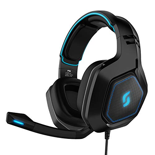 7.1 Surround Sound USB Input Plug Over-Ear Headphones with Noise Isolating Microphone and Adjustable Headband for PC Computer Gamers Locust Plus SADES RGB Gaming Headset