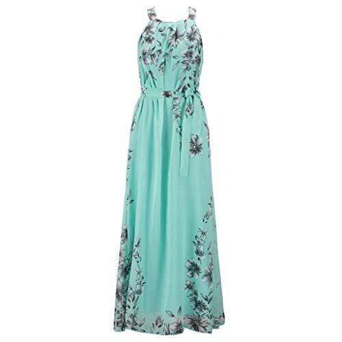 Karrychen Vestido Largo sin Mangas Bohemio de Talla Grande de Verano para Mujer, Estampado Floral Vintage, con cinturón, con Cordones, Plisado, Vestido de Playa de Gasa S-6XL- Verde # 6XL