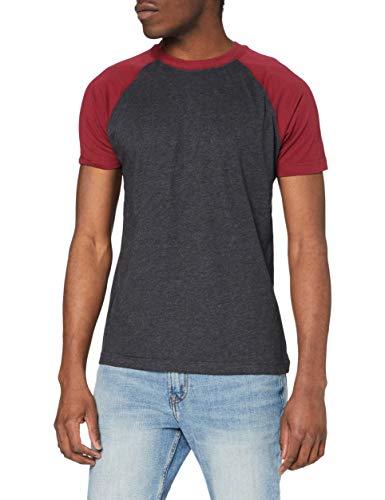 Urban Classics Raglan Contrast Tee T-Shirt, Carbone/Bordeaux, M Uomo