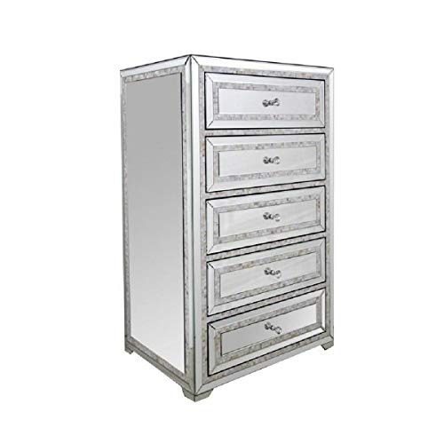 Great Price! Benjara 5 Drawer Chest with Mirror Panel Inserts and Shell Inlay, Silver