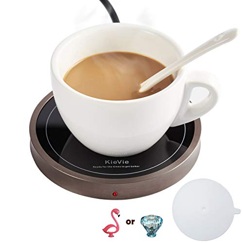 Coffee Warmer for Warming Tea, Coffee,Cocoa, Mug Warmer For Office Desk Warming Plate and Metal Shell, Constant Temperature Control, Waterproof, 18W Beverage Warmer, 1PC Silicone Cover Lid Free Gift