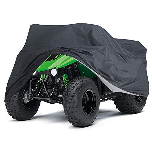 ATV Abdeckplane, Quad Motorrad Allwetter Motorradabdeckung im Freien Wasserdicht, staubdicht, UV-Schutz, atmungsaktiv, mit winddichtem Gurt Schwarz XL
