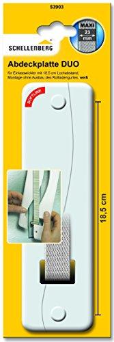 Schellenberg 53903 Abdeckplatte DUO für Unterputz Gurtwickler, System Maxi: 23 mm Breite Rolladengurte, Lochabstand 185 mm, einfach Montage ohne Ausbau des Rolladen Gurtbandes