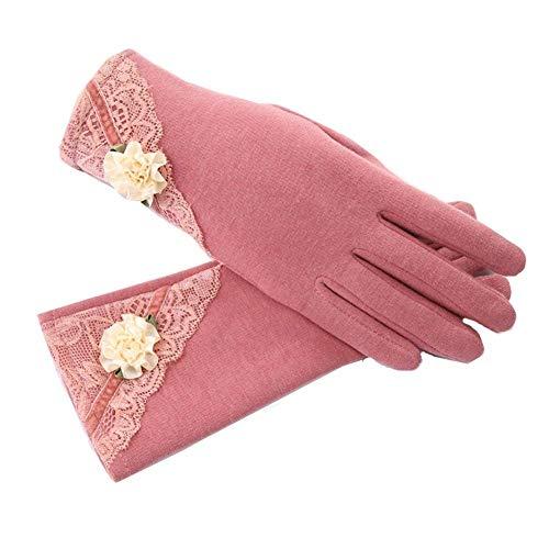 Damen Cashmere Schutz Gestrickt Armlange Halbhand Handschuhe Lang Armstulpen Halb Jungen Fäustlinge Handschuh Fingerlos Women (Color : Rose, Size : One Size)