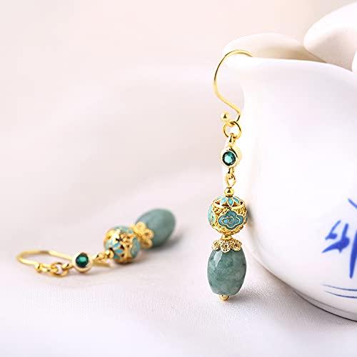 ZHWY Pendientes Emerald, Pendientes Frescos Pendientes, Pendientes Daily Temperament Jade Pendientes Retro, Pendientes De Buena Luck Pendientes, Enviar Joyas De Regalo Madre