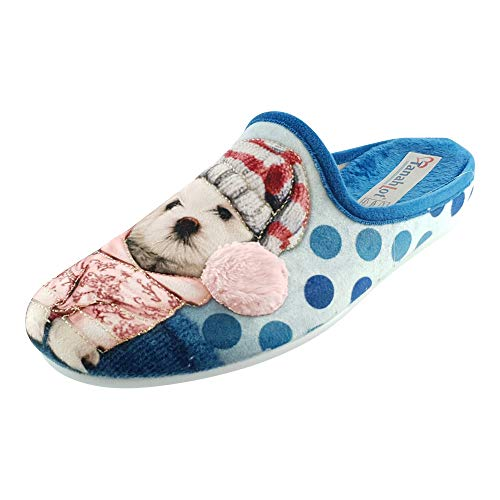 SCHUHKÖNIG Hausschuh Pantoffel Hund mit Pudelmütze hellblau 5553224 (38 EU)