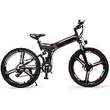D&XQX Plegables E-Bici, 26 Pulgadas de Bicicletas de montaña eléctrica, con el Super aleación de magnesio de 3 Ruedas Integrado de Radios, Suspensión Prima Completa Y Shimano 24 Speed Gear