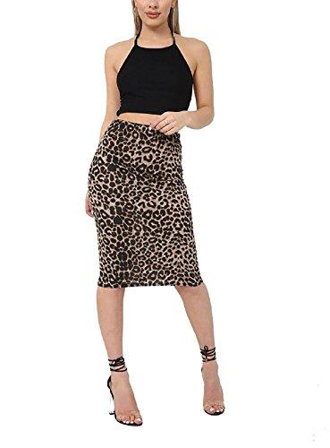 Rimi Hanger Womens Printed Stretch Bodycon Midi Skirt Ladies Fancy Party Wear Pencil Skirt Brown Leopard Print Medium/Large