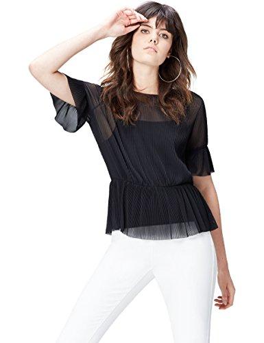 Amazon-Marke: find. Bluse Damen Plissee-Top und blickdichtes Unterhemd, Mehrfarbig (Black), 38, Label: M