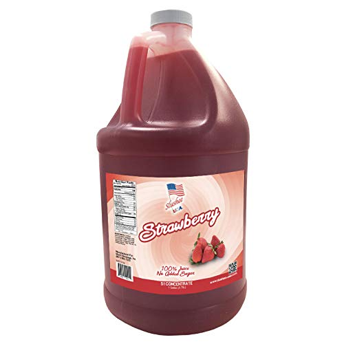 100% Fruit Juice NO ADDED SUGAR - Strawberry Slushee Mix -1 Gallon - 128 oz (yields approximately 96-12oz servings) Mixing Ratio 5 parts water to 1 parts product Mix)