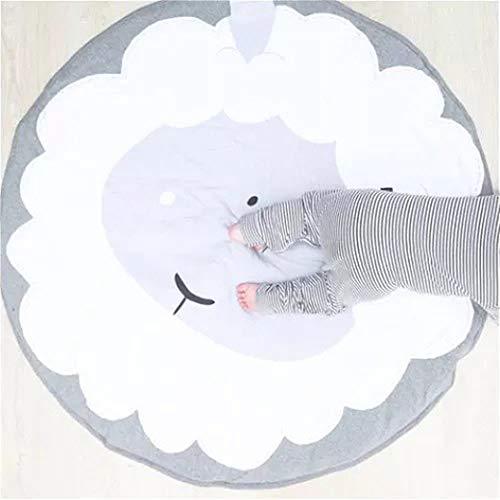 EXQULEG Baby Krabbeldecke Matt Spielen Teppich, Baumwolle Kinderteppich, groß und weich gepolstert,Babyzimmer Dekoration ca.90 cm (Schaf)