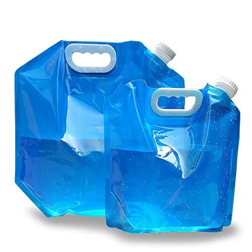 Haidunpin Pack de 2 bidones de agua plegables portátiles y plegables [5 L + 10 L] Depósito de agua potable para deportes, camping, senderismo, picnic, barbacoa