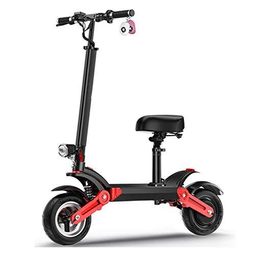ZLYJ Patinete Electrico Adultos, Scooter Electrico con Asiento Extraíble, 500W 10.4Ah, Kilometraje...