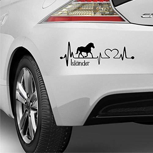 Pegatina Promotion Aufkleber Herzschlag Typ2 ca 30cm mit Herz, Islandpferd & Schriftzug Isländer Heartbeat reiten Reitsport Pony