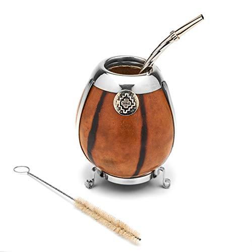 Handgefertigt Mate Gourd Set - Alpaka Silber- einschließlich Strohhalm (Bombilla) (BEIGE)