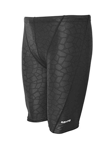 Srnfean Men's Quick Dry Swim Jammer Shorts Swimwear Black Print Large