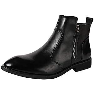 [Isome] レインブーツ ビジネスブーツ 防滑 撥水加工 ハイカットレインシューズ 梅雨対応 男女兼用ブーツ シンプル カジュアルブーツ ブラック 25.0cm