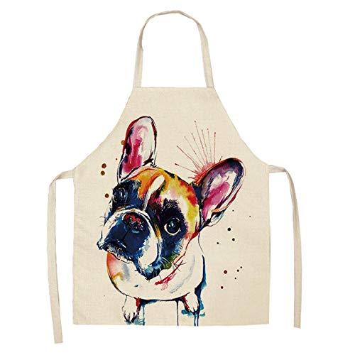 Mdsfe 1 Stück Baumwolle und Leinen Bulldogge Hundedruck Küchenschürze neutrale Dinnerparty Kochlätzchen lustige saubere Schürze - 4,47x38cm