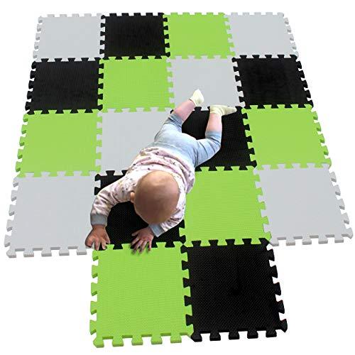 MQIAOHAM 18 pcs krabbeldecke wasserdicht teppich kinder matte für baby puzzle boden matten play gym spielmatten schaum puzzlematte kleinkind schaumstoff Weiß Schwarz Fruchtgrün 101104115