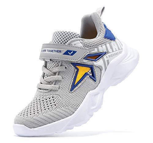 VITUOFLY Kinder Sneaker Jungen Schuhe Turnschuhe Mädchen Fitnessschuhe Outdoor Sportschuhe Laufschuhe Kinderschuhe Damen Hallenschuhe Schulung Schuhe Grau 32
