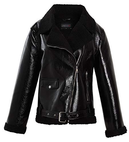 shelikes Damen-Bikerjacke aus weichem PU-Wildleder, gepolsterter Kragen, warm Gr. 42, schwarzer lack