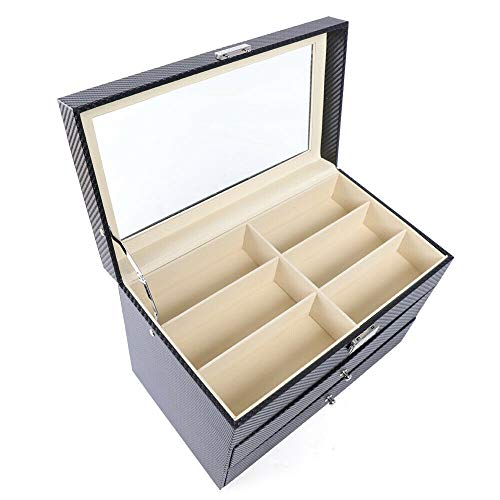 WUPYI2018 Caja para 18 gafas, expositor de gafas, con ventana de cristal, 35 x 21 x 24,5 cm