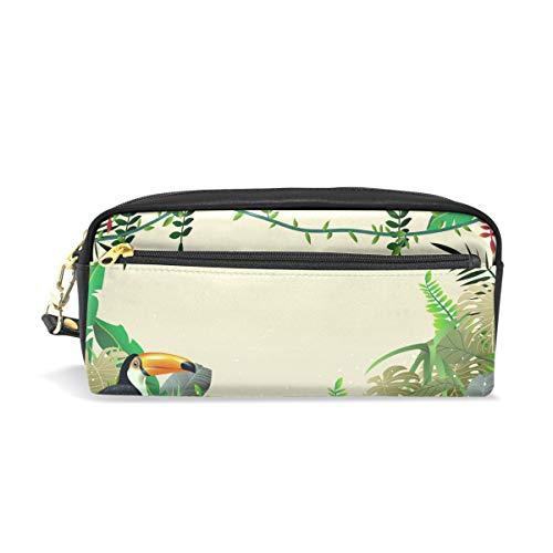 Stifteetui, Motiv: Tropische Vögel, Dschungelliana, für Kinder, für Make-up, Kosmetik, Büro, Reisetasche
