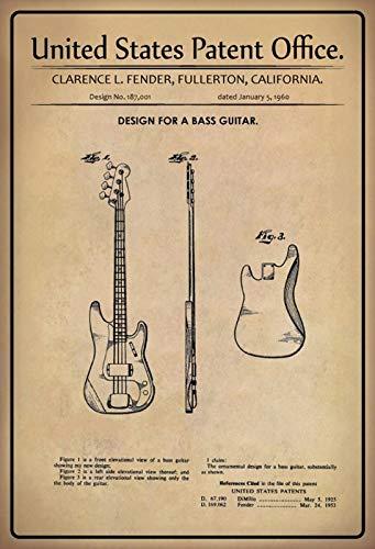 FS Patent ontwerp voor basgitaar-fender metalen bord bordje gewelfd Metal Sign 20 x 30 cm