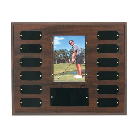 """East Coast Trophies & Awards LLC 12 Plate Perpetual Employee of The Month Plaque 10 1/2""""x13"""" Free Custom Engraving with Black Plates and Photo SPOT"""