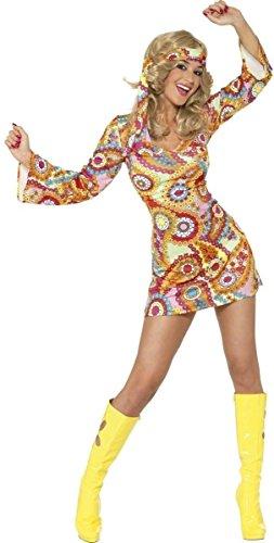 Smiffy's (34060S) - Disfraz de hippie años 60s para mujer, talla S (36-38)