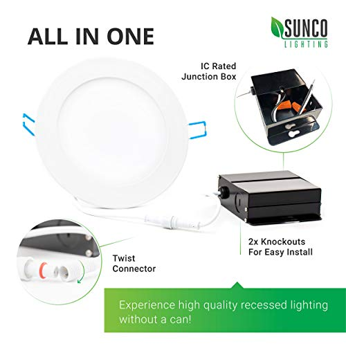 Sunco Lighting 12 Pack 4 Inch Slim LED Downlight with Junction Box,10W=60W, 650 LM, Dimmable, 3000K Warm White, Recessed Jbox Fixture, Simple Retrofit Installation - ETL & Energy Star