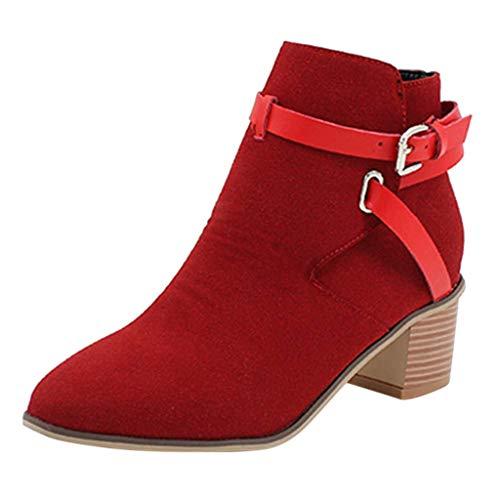 HUADUO Zapatos de Mujer Botines Chelsea elásticos Occidentales Botines de Gamuza Zapato Corto para Mujer Zapatillas
